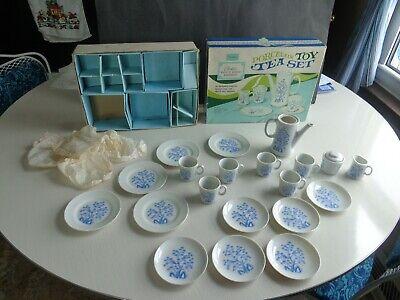 Vintage Sears Porcelain Toy Tea Set Classic Blue Bird Design