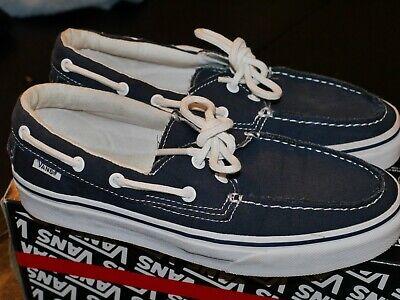 Vans Boat Shoes Zapato Del Barco Canvas Navy Blue True White Mens 8.0 Womens 9.5