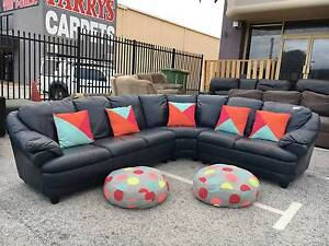DELIVERY TODAY LUXURIOUS GENUINE LEATHER L shape sofas set lounge Belmont Belmont Area Preview