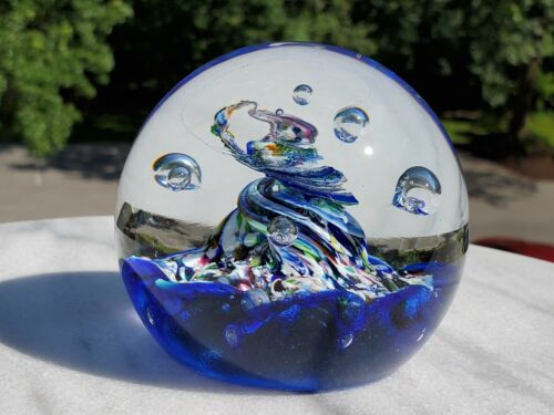 VINTAGE CAITHNESS CRYSTAL FUTURISM TORNADO SPHERES GEOMETRIC PAPERWEIGHT BLUE