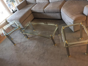 For Sale: Coffee Table & 2 End Tables (Glass and Brass)