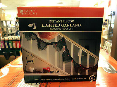*lot of 4* Halloween Lighted Garland Purple Mini Lights Black Gauze Fabric 9 Ft.