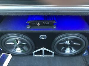 "^** 2 12"" CLARION SUBWOOFERS IN BASSWORX BOX WITH ALPINE AMP!!"