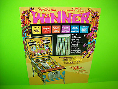 WINNER Pinball Machine Flyer 1972 Original WILLIAMS Horse Racing Theme Artwork