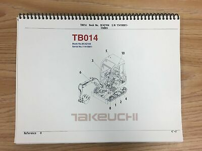 Takeuchi Tb014 Parts Manual Sn 11410001 And Up Free Priority Shipping