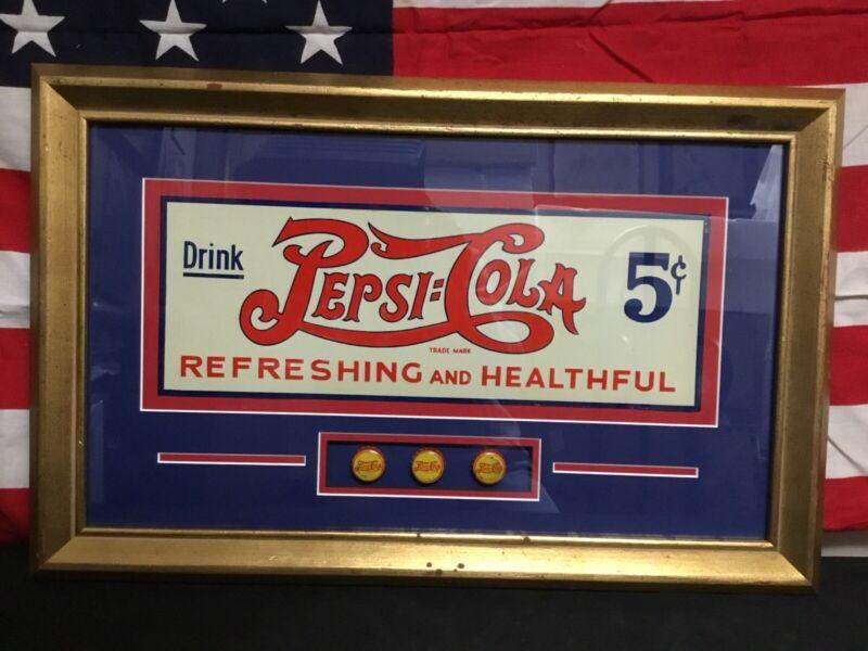 Rare! Antique 1930s Original Tin Embossed Double Dot Pepsi Cola Sign. Mint Cond!