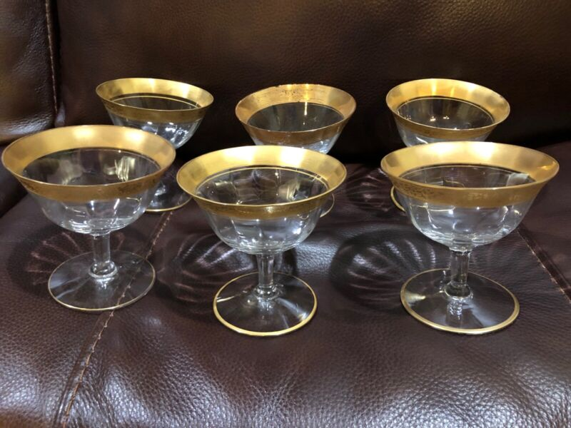 Set Of 6 TIFFIN Crystal Gold Trim & Ring Sherry Wine Champagne Glasses