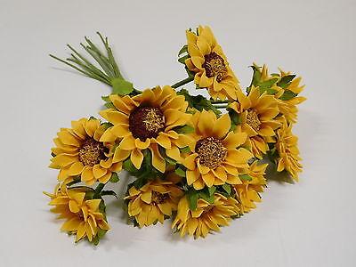 12 Strauß (12 x Sonnenblume Sonnenblumenstrauß  Strauß Kunstblumen gelb 30 cm K189 F18)