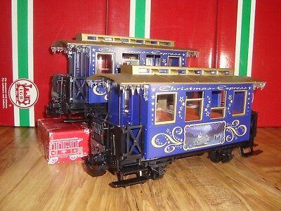 LGB 72305 BLUE 2 PIECE CHRISTMAS PASSENGER CAR TRAIN SET BRAND NEW NO BOX!