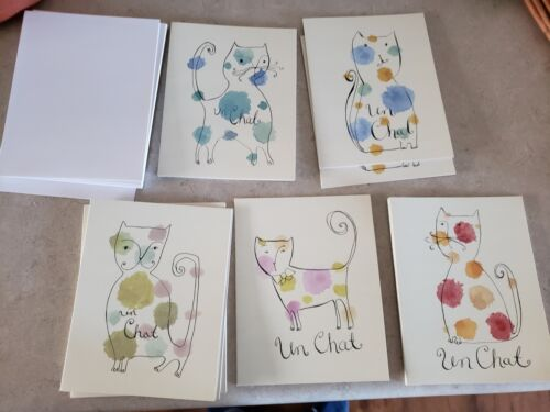 13 French Inspired Un Chat Notes & Envelopes,Marina Addison Chronicle Books Cats