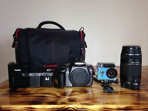 Canon T3 and action camera.