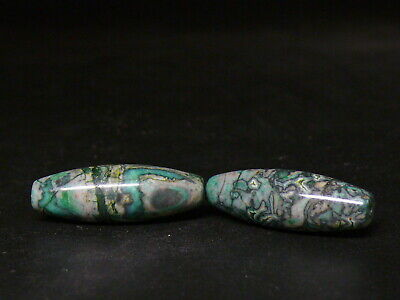 (uD119) Tibet :  2 Beautiful Vintage  natural Green Agate Bead. God Quality.