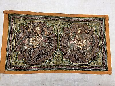 "34.5"" x 19"" HANDMADE BEADED TAPESTRY-ASIAN HORSE BACK RIDERS-AGE & MAKER UNKNOWN"