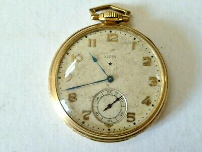 ELGIN MODEL 3, SZ.12, 15J POCKET WATCH, GOLD FILLED, FOR PARTS OR REPAIR, AS-IS