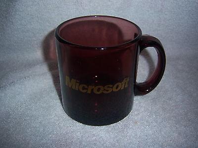 classy MICROSOFT mug--HEAVY GLASS made in USA--pac man LOGO--purplish plum hue