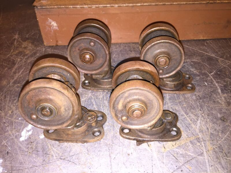 """Vintage 1920 3-1/2"""" Rustic Patina Industrial Cast Iron Double Wheel Casters Set"""
