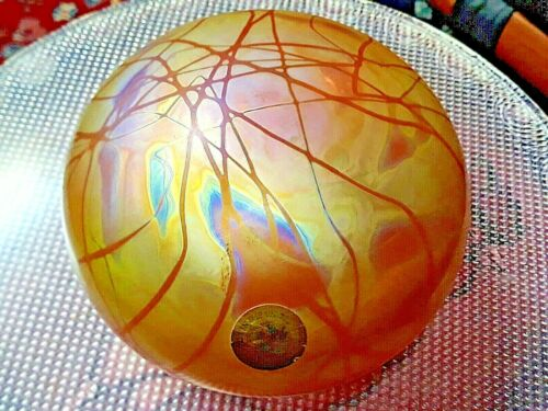 "VTG.LARGE 5 1/4"" STUDIO ART GLASS GOLD IRIDESCENT/THREADED PAPERWEIGHT USA RARE!"