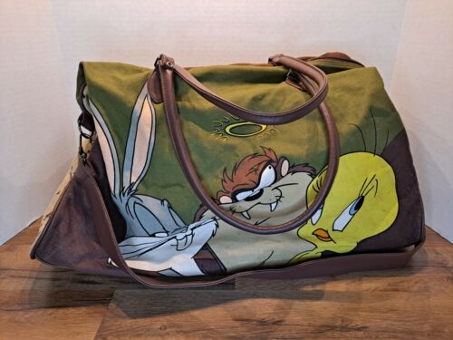 Vintage 1993 Looney Tunes All-Stars Taz Bugs Bunny Tweety Duffel Bag Warner Bros