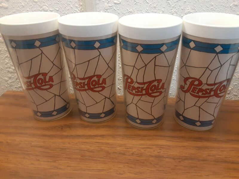 "Vintage Thermo Serv Pepsi-Cola Insulated Tumblers Set of 4. Very nice!! 6""  1-A"