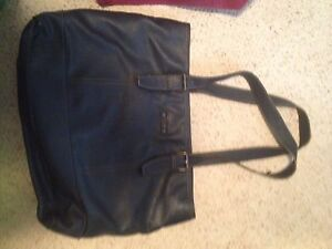Navy blue leather ROOTS purse.