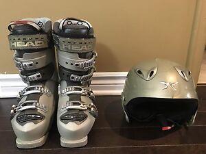 Bottes de ski (7.5) + casque