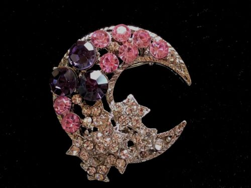 Moon Brooch pin pink purple & clear rhinestones 1.5x1.25 GIFT mothers day #2