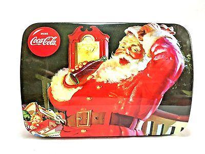 Coca-Cola Company Winter Holiday Christmas Santa Claus Metal Tin Container EUC