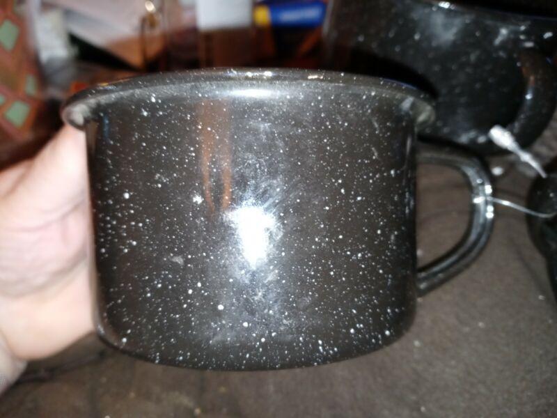 Vintage Graniteware Enamelware Coffee Cup Black w White Speckled  Set of 3