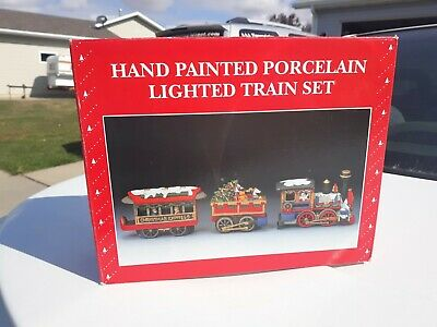 Vtg Hand Painted Porcelain Lighted Train Set Santa Christmas Decoration 3 Pcs.
