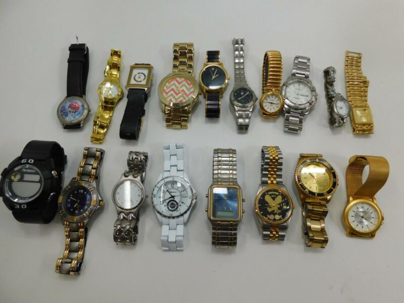 Lot of 18 Various Brand Wristwatches Watches for Parts/Repair #R-2-1-06