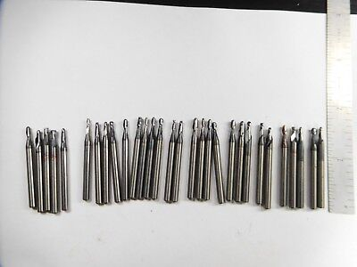 25pc Lot Of Carbide End Mills Light Use 116 To 18 On 18 Shank Tialn Coat