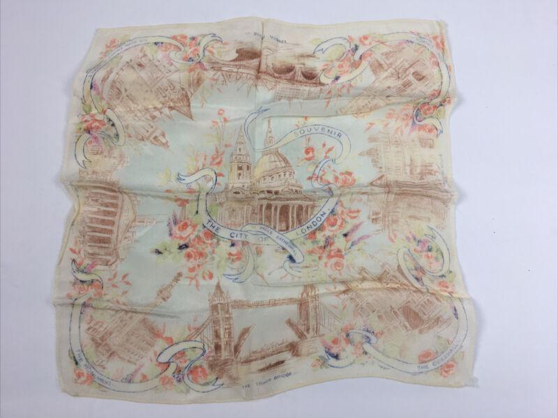 "Vtg City of London Silk Handkerchief Souvenir 11"" Historic Sites UK Travel"