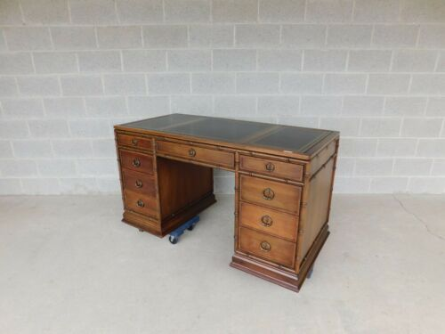 """Sligh Campaign Faux Bamboo 3 Part Tooled Leather Top Desk 54""""W"""