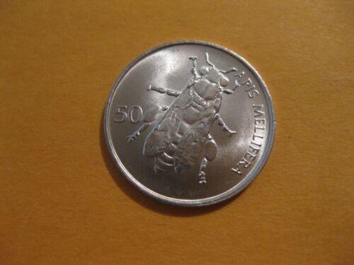 "1993 Slovenia Coin 50 Stotinov  ""BEE""  uncirculated beauty insect coin"