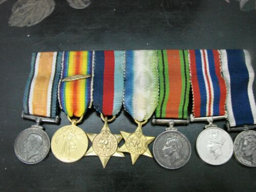Original British World War 1&2 Miniature Medals w/ Bar Ribbons V. Good Cond. HSF