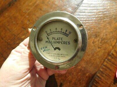 1927 Sterling Plate Milliamperes Amperes Vacuum Tube Tester Gauge Radio R-401 R-