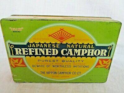 Antique vintage old rare collectable Japanese Asahi brand redifined Camphor Tin