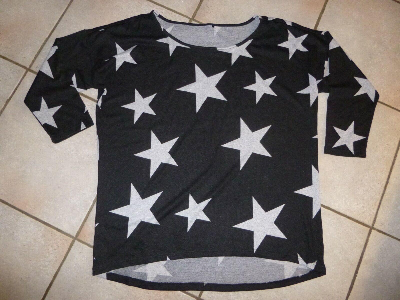 Damen Pullover Sterne, Gr. XL, 7/8-Ärmel, schwarz grau, hinten länger