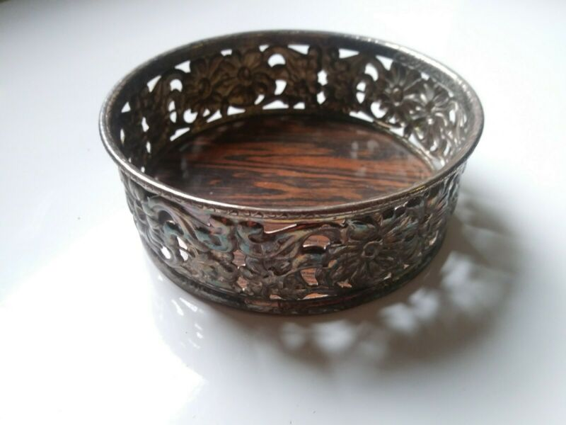 Antique Floral Silver Plate Wine or Champagne Coaster with Wood Grain Bottom