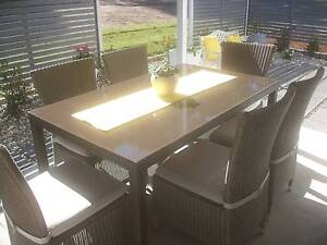 7 PIECE OUTDOOR WICKER DINING SETTING Toronto Lake Macquarie Area Preview