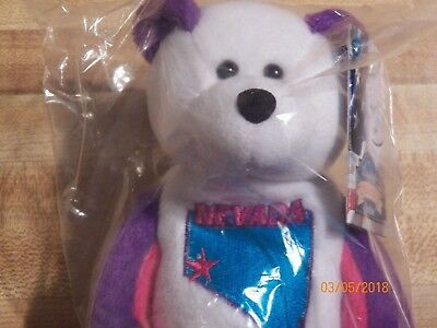 Nevada Quarter Beanie Bear 36th State Collectible Stuffed Coin Bear retired new