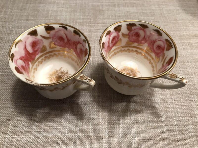 ANTIQUE 1800s SPODE COPELANDS CABBAGE ROSES GOLD (2) Tea Cups Only