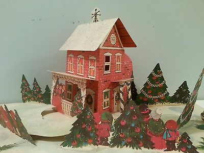 Vintage Christmas Paper Pop Up Village -Columbia House Division