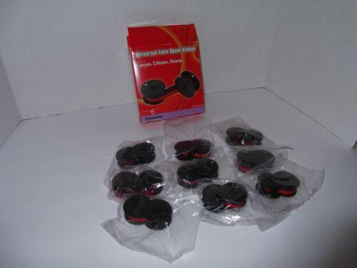 9 Porelon 11216 Universal Twin Spool Black Red Calculator Ribbon Canon, Sharp