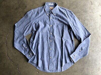 NWOT Gant Rugger E-Z OBD Handloom Madras Chambray Shirt sz Medium Blue