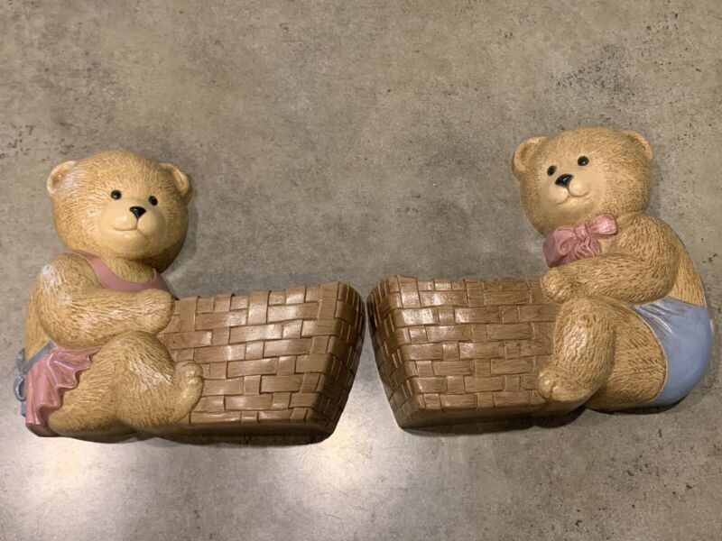 Burwood Products Wall Hanging-Free Standing  Boy & Girl Bears And Baskets-1989