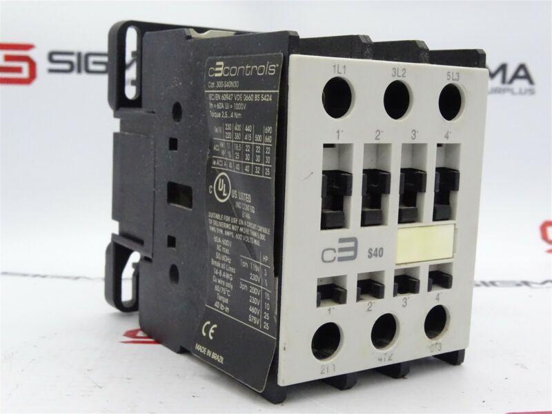 C3Controls 300-S40N30 Contactor 3-Pole 600VAC 60A 50/60Hz