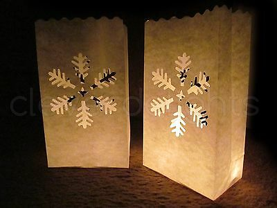 30 Luminary Bags - White - Snowflake Design - Christmas Holiday Decor Luminaria ()