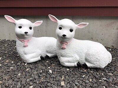 Blow Mold Plastic Lamb Pink Bow Black Feet Nativity Union Products