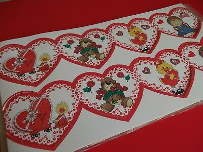 VTG.VALENTINE GARLAND~DECORATION,CRAFT-SUZYS ZOO-10 FEET OF UNUSED CUTENESS!!](Vintage Valentine Decorations)
